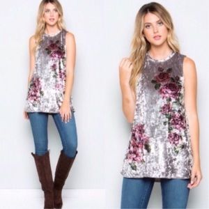 Silver Floral Crushed Velvet Tunic